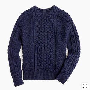 J.Crew Popcorn cable-knit sweater-K5311-Navy
